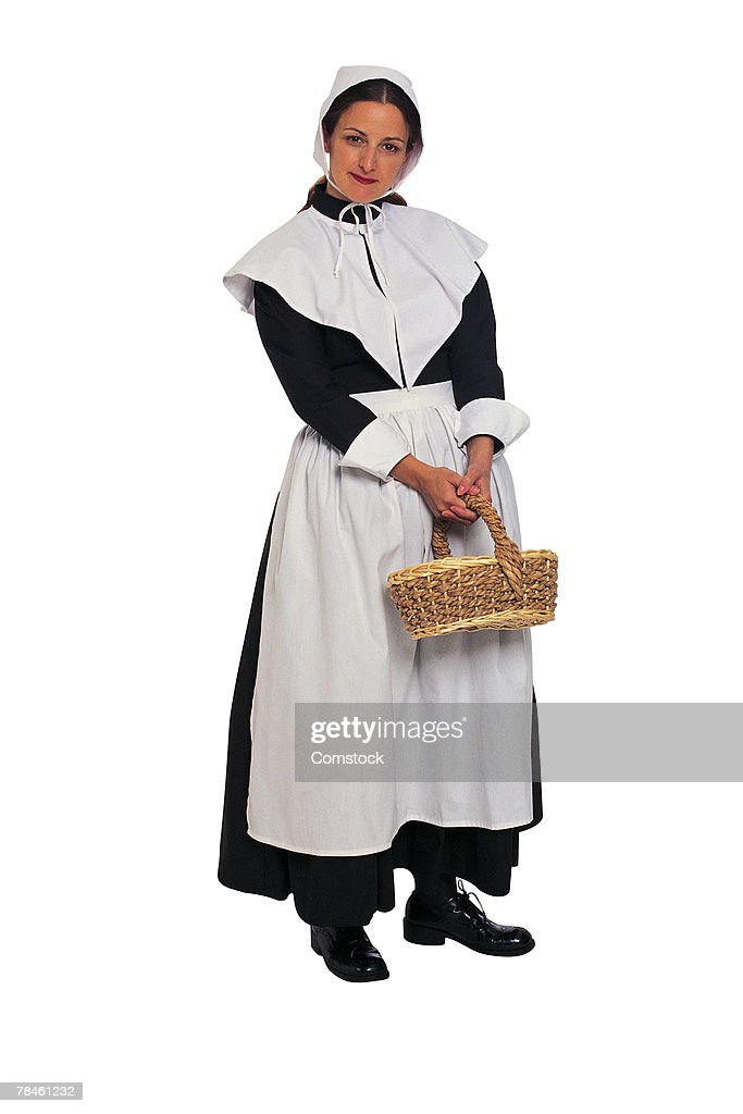 Puritan woman settler with basket