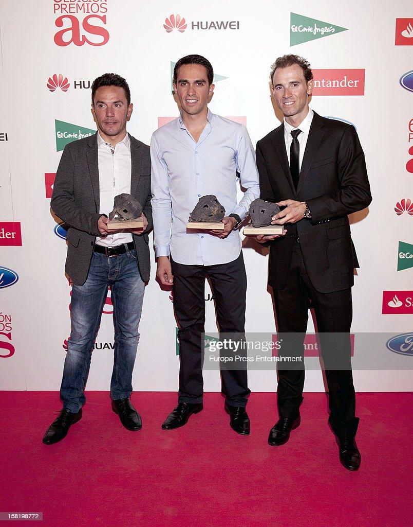 L-R) Purito Rodriguez, Alberto Contador and Alejandro Valverde attend As Del Deporte' Awards 2012 on December 10, 2012 in Madrid, Spain.