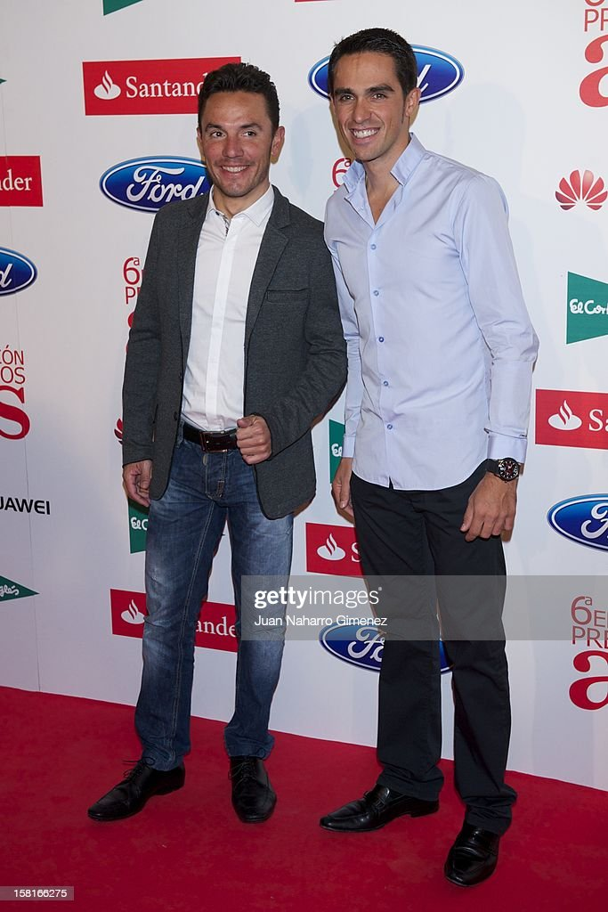 Purito Rodriguez and Alberto Contador attend 'As del Deporte' awards 2012 at Palace Hotel on December 10, 2012 in Madrid, Spain.