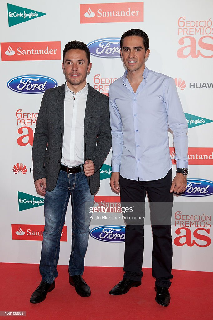 Purito Rodriguez and Alberto Contador attend 'As Del Deporte' Awards 2012 at The Westin Palace Hotel on December 10, 2012 in Madrid, Spain.