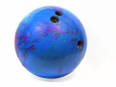 An old blue bowling ball.