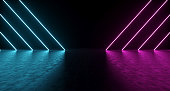 Purple And Blue Shaped Neon Lights With Reflections On The Floor. 3D Rendering  Illustration