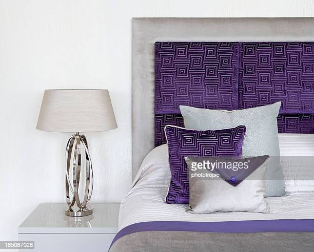 purple and cream silk cushions