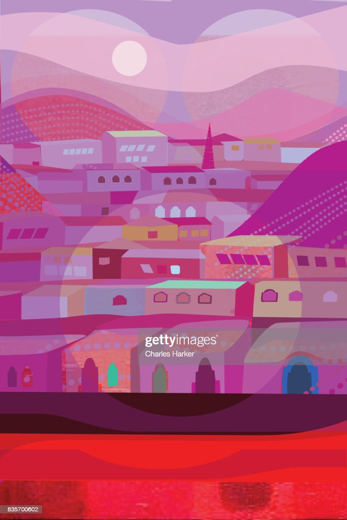 Purple and Red Row Houses Illustration : Stock Photo