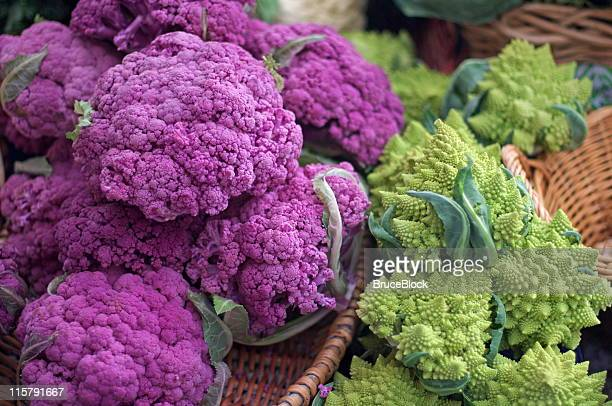 Purple and Romanesco Cauliflower