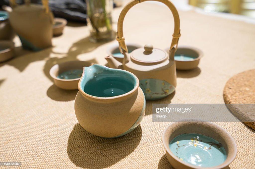 Purple clay teapot : Stock Photo