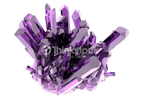 Purple crystal on a white background isolated : Stock Photo