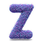 Purple faux fur LETTER Z 3D render illustration isolated on white background