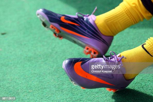 Purple football boots are seen during the Second Bundesliga match between Alemannia Aachen and FC Augsburg at the Tivoli Stadium on March 28 2010 in...