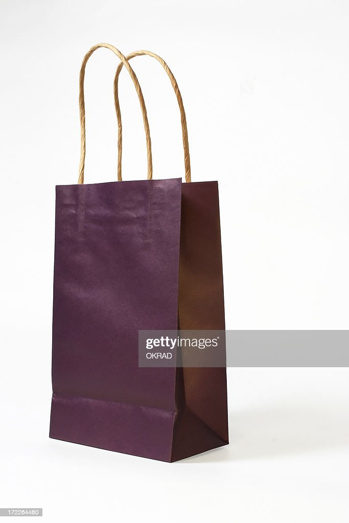 Purple Gift Bag Isolated on white with Clipping path