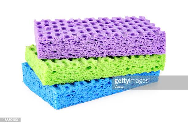 Purple, green and blue sponges