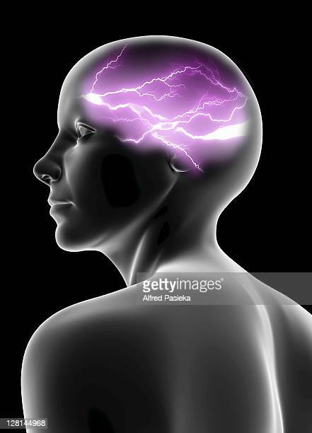 Purple lightning in brain of female figure against black background