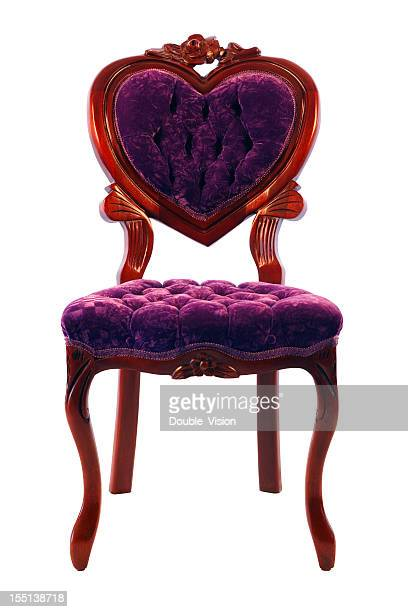 Purple Love Seat: Anitique Ornate Heart-shaped Chair