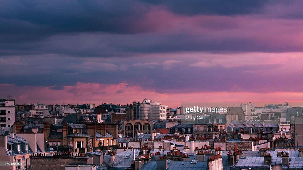 Purple Over Paris : Stock Photo