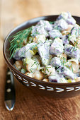 Purple potato salad with chickpeas and dill
