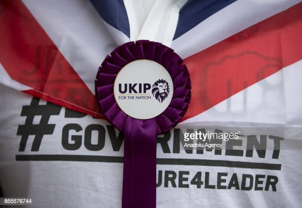 A purple rosette is seen on a delegate of UK Independence Party during the party's annual conference at the Riviera International Conference Centre...