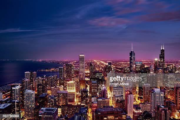 Purple Skyline Panorama of Chicago at night