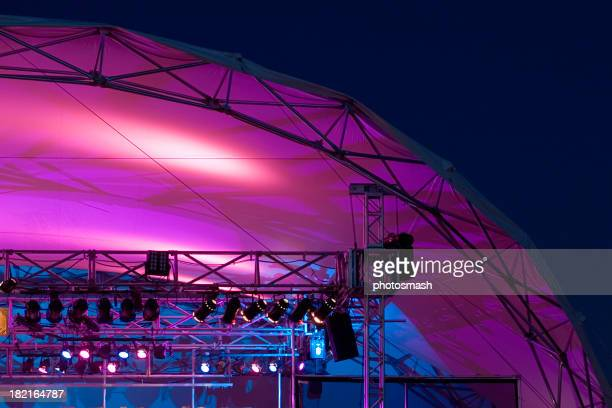 Purple stage lights and tent.