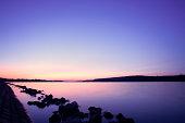 Purple sunset over Dunav and Sava river delta