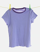 Purple t-shirt pegged to a line