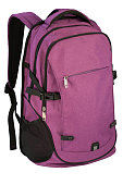 Purple, violet backpack isolated over white background.