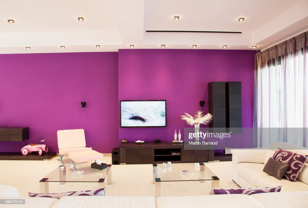 Purple wall in luxury living room