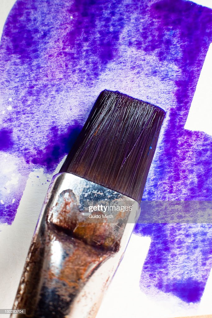 Purple watercolour paint and flat brush : Stock Photo