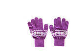 purple yarn glove with white graphics for warm wears on white background , winter gloves, fashion design gloves,fashion clothes