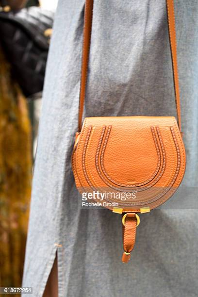 Purse details worn at the SOREL Who What Wear Fall Reboot brunch on October 27 2016 in Los Angeles California