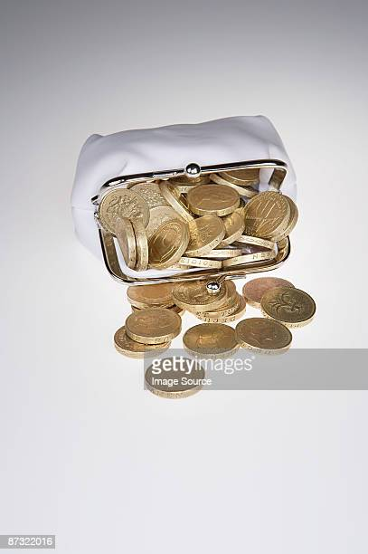 Purse filled with pound coins