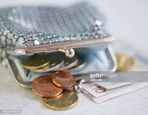 Purse with money, low angle view