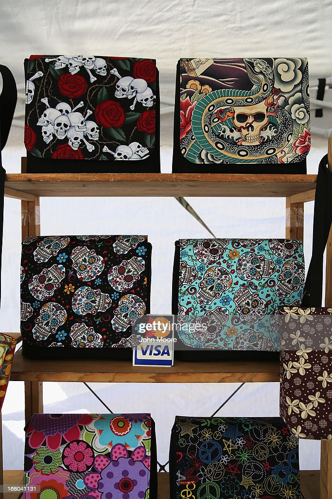 Purses await sale at a vendor's booth at a Cinco de Mayo festival celebrating Mexican culture on May 4, 2013 in Denver, Colorado. Hundreds of thousands of people were expected to attend the two day event, billed as the largest Cinco de Mayo celebration in the United States. Cinco de Mayo observes the victory of the Mexican army over French forces on May 5, 1862 in the town of Puebla, Mexico. The festival celebrates Mexican culture and is one of the most popular annual Latino events in the United States.