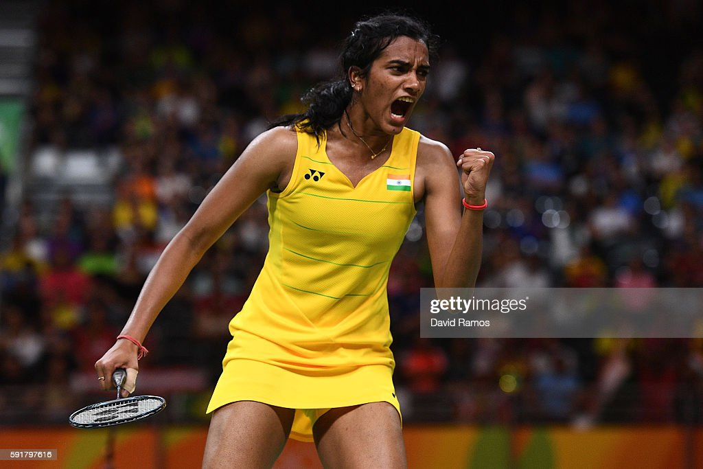 Pusarla V Sindhu of India celebrates winning a point during the Women's Badminton Singles Semifinal against Nozomi Okuhara of Japan on Day 13 of the...