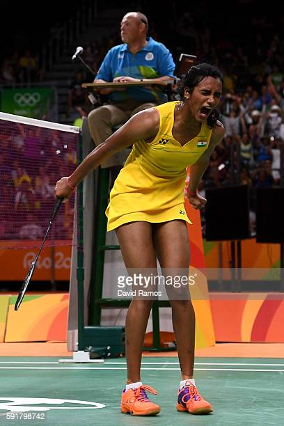 Pusarla V Sindhu of India celebrates winning her Women's Badminton Singles Semifinal against Nozomi Okuhara of Japan on Day 13 of the Rio 2016...