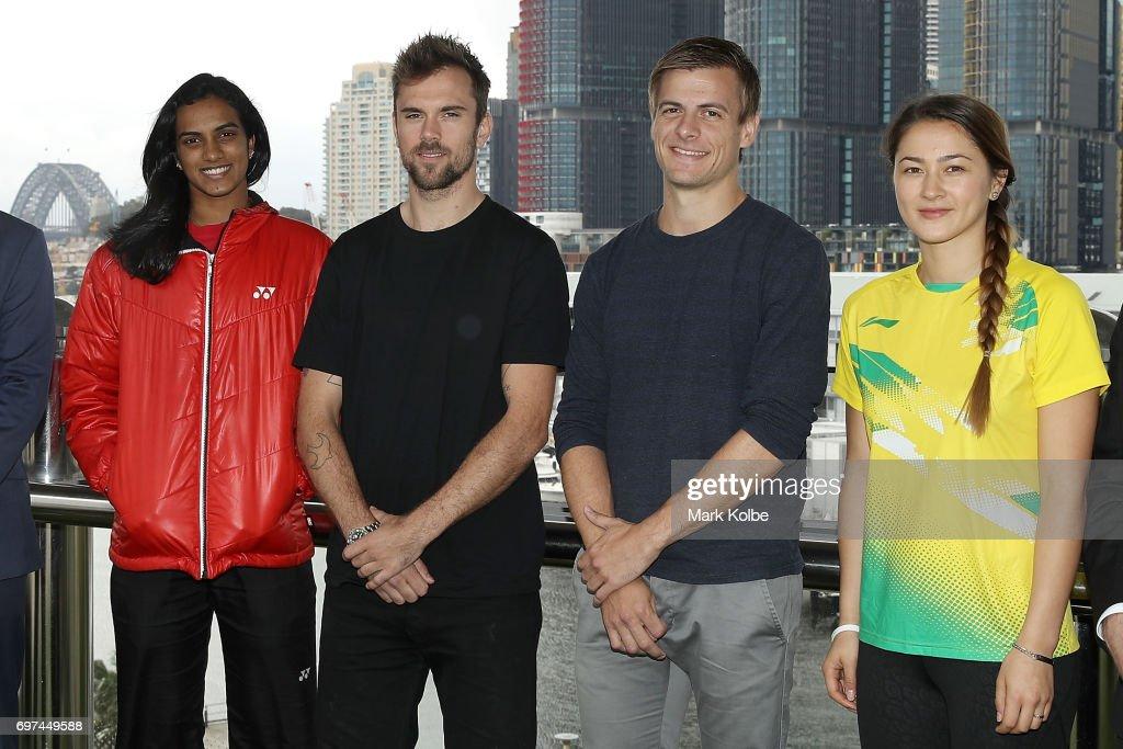 Pusarla Venkata Sindhu of India, Jan Jorgensen of Denmark, Hans-Kristian Vittinghus of Denmark and Gronya Somerville of Australia pose during an Australian Open Badminton Media Call at Star City on June 19, 2017 in Sydney, Australia.