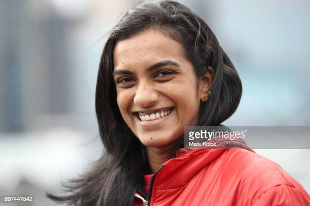 Pusarla Venkata Sindhu of India smiles as she waits for the start of an Australian Open Badminton Media Call at Star City on June 19 2017 in Sydney...