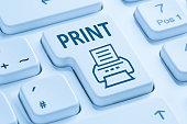 Push print button printing printer symbol blue computer keyboard