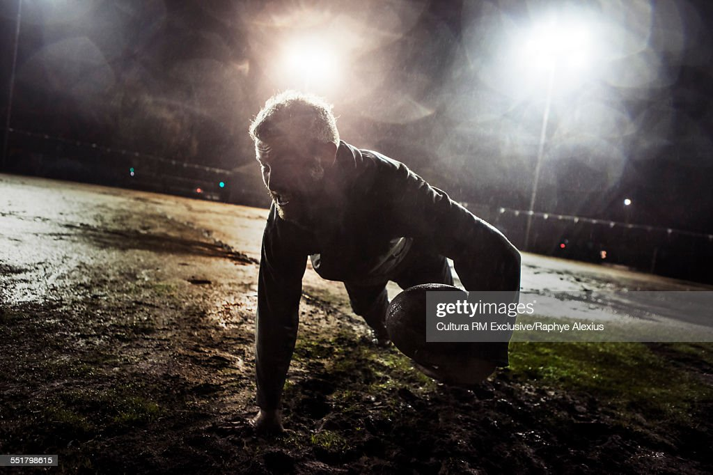 Push up and ball recovery on muddy field