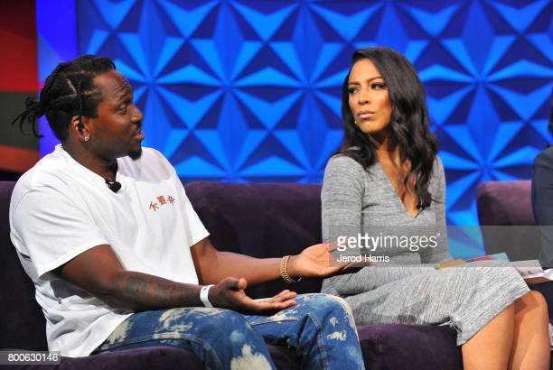 Pusha T and Angela Rye at day one of Genius Talks sponsored by ATT during the 2017 BET Experience at Los Angeles Convention Center on June 24 2017 in...