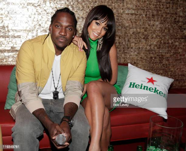 Pusha T and Rosa Acosta backstage at the Heineken Red Star Access Presents GOOD Music Event on July 18 2011 in Houston Texas