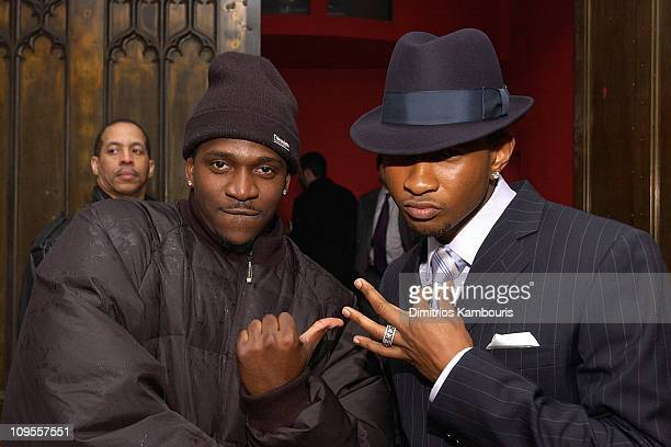 Pusha T and Usher during Pink and Arista Records Host A PreGRAMMY Party at Show Nightclub in New York City New York United States