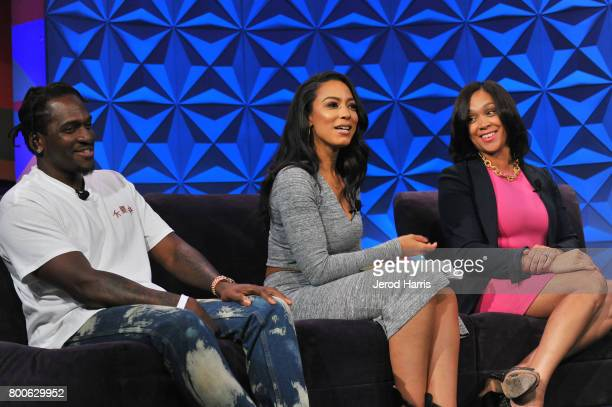 Pusha T Angela Rye and Marilyn Mosby at day one of Genius Talks sponsored by ATT during the 2017 BET Experience at Los Angeles Convention Center on...