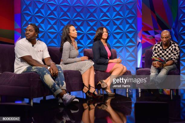 Pusha T Angela Rye Marilyn Mosby and Charlamagne tha God at day one of Genius Talks sponsored by ATT during the 2017 BET Experience at Los Angeles...