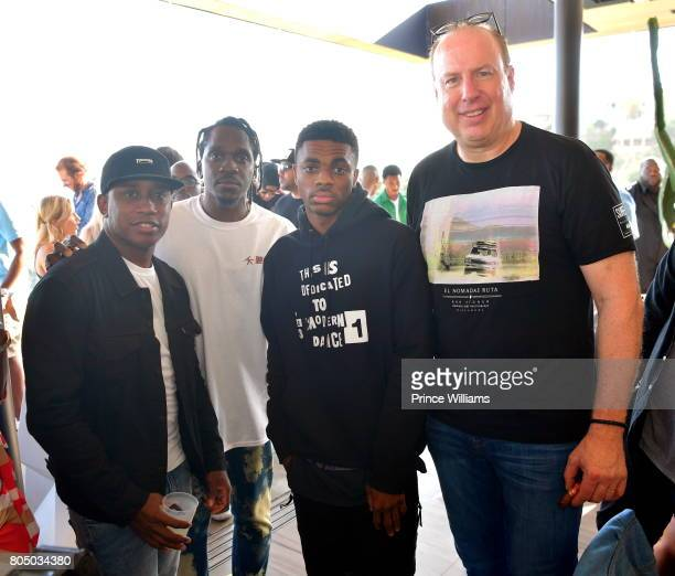 Pusha T Vince Staples and Steve Bartels attend a Def Jam Celebration for 2 Chainz Vince Staples Presented By Baller Alert on June 24 2017 in Los...