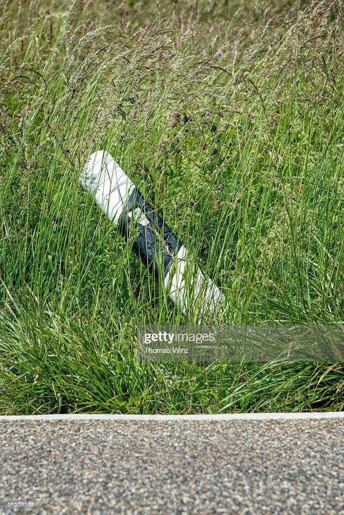 Pushed over road marker