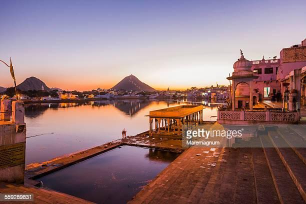 Pushkar Lake and the Ghats at twilight