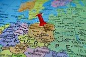 Pushpin marking on Poland map