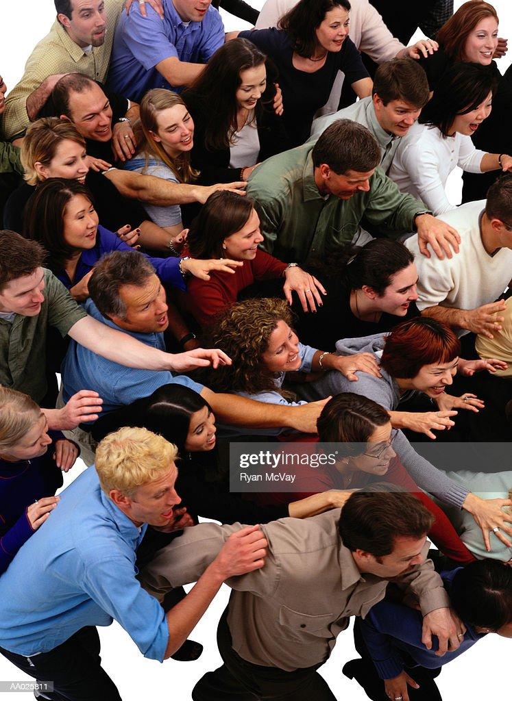 Pushy Crowd : Stock Photo