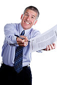 Pushy Salesman with Contract Isolated on White