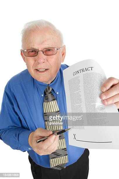 Pushy Senior Salesman with Contract